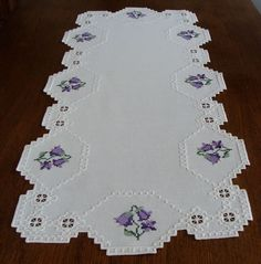 Spectacular HARDANGER Embroidery white TABLE RUNNER with nice bellflowers | Crafts, Handcrafted & Finished Pieces, Needle Arts & Crafts | eBay!