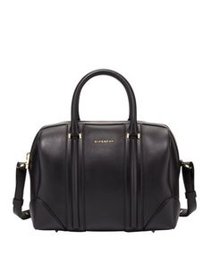 This handbag is so adorable #musthave Lucrezia Medium Smooth Satchel Bag, Black by Givenchy at Bergdorf Goodman.
