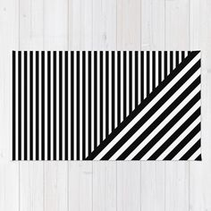 Black and White Diagonal Stripes Rug by Go To Design | Society6