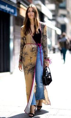 Layer a kimono over your jeans for a new take on classic outfit combos.