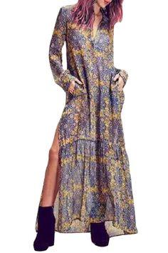 Yellow Print Plunging Neck Long Sleeve Maxi Dress