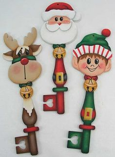 This is a set of Christmas Key ornaments, Santa and Friends Key Ornaments-E-Packet Jeanne Bobish. Key Crafts, Christmas Projects, Holiday Crafts, Wood Crafts, Christmas Ornaments To Make, Noel Christmas, Christmas Decorations, 242, Painted Ornaments