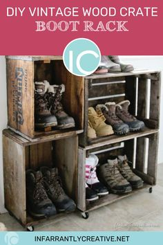 Need vintage crate ideas? If you live in a place where it snows, this DIY vintage crate boot rack is perfect! You can stack vintage crates in almost any direction to add charm and to fill the space you've got in the coat closet, mud room, or entry way. Double win! Storage and charm! Diy Storage, Diy Organization, Organizing, Diy House Projects, Diy Wood Projects, Decorating Your Home, Diy Home Decor, Vintage Wood Crates, Boot Rack