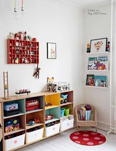 kids room storage - different colored cubbies