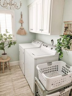 washer and drier in laundry room Laundry Cabinets, Laundry Room Shelves, Laundry Room Organization, Laundry Room Makeovers, Laundry Room Wallpaper, Of Wallpaper, Blue Laundry Rooms, Old Time Pottery, New Cabinet
