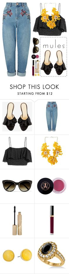 """""""Mules!"""" by blueberrylexie ❤ liked on Polyvore featuring Miss Selfridge, H&M, Chloé, Stila, Chanel, Kate Spade and Allurez"""