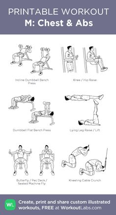 M: Chest & Abs: my visual workout created at WorkoutLabs.com • Click through to customize and download as a FREE PDF! #customworkout