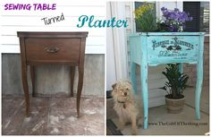 Sewing Table Turned Planter