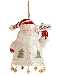 Lenox 2018 Teddy Bear Santa holding Wreath Ornament