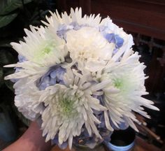 Blue and White Bouquet with Hydrangea, Spider Mums, and Carnations.