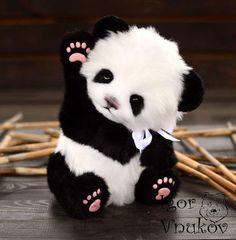 Panda Sue-Jin(made to order) handmade plush collectible stuffed toy teddy bear Cute Panda Baby, Baby Panda Bears, Baby Animals Super Cute, Little Panda, Cute Baby Dogs, Cute Stuffed Animals, Bear Cubs, Cute Little Animals, Baby Pandas