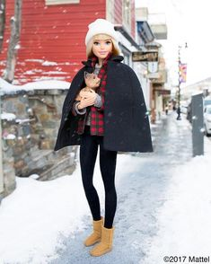 WEBSTA @ barbiestyle - Hello Park City! Taking a snowy stroll in my Classic @ugg boots. Who's in town for #Sundance? 🎥  #sponsored #barbie #barbiestyle
