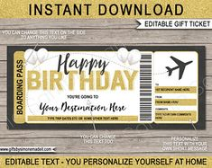 DIY Printable Editable Boarding Pass Surprise Fake Airline | Etsy Boarding Pass Template, Ticket Template, Printable Tickets, Airline Tickets, Text You, Diy, Printables, Templates, Lettering