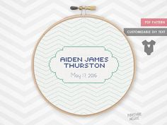 CHEVRON BIRTH ANNOUNCEMENT counted cross stitch pattern new baby boy shower sampler gift modern newborn nursery record easy personalized by PineconeMcGee