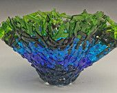 Shades of Blue and Green Lacey Vase