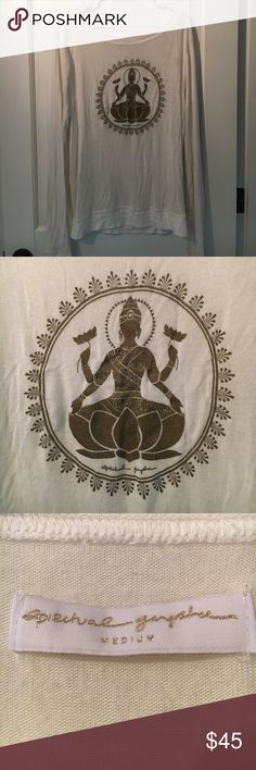 Spiritual gangster white sweat shirt Beautiful shiva symbol in the heart of the sweat shirt, this rare find spiritual gangster sweat shirt is super soft and very relaxed fit. Very comfy! Only worn a couple of times. spiritual gangster  Tops Sweatshirts & Hoodies