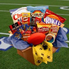 Our Touchdown Game Day Snacks Care Package will be the hit of the day. This unique mans-man gift pack includes a festive yellow foul flag, nerf football, half time whistle and an abundance of game tim