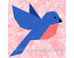 Bluebird of Happiness quilt block, bird quilt patterns, instant download PDF quilt pattern, paper pieced quilt patterns, bird patterns
