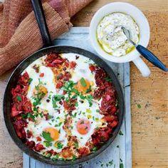 Turkish menemen with sumac yogurt - I used zaatar and I think I have found my new favorite yogurt sauce recipe!