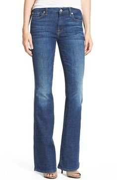 Free shipping and returns on 7 For All Mankind® 'Tailorless' High Rise Flare Jeans (Castle Rhodes) at Nordstrom.com. Three-dimensional creases and subtle fading bring out the highs and lows of the gorgeous medium-blue wash of polished cotton-blend jeans. The versatile pair is tailored with a silhouette that kicks out below the knee in a leg-lengthening flare.
