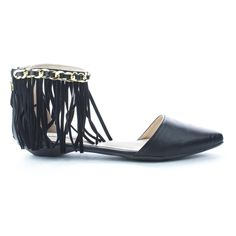 IndaJLL1 Black D'orsay Pointy Toe Chain & Fringe Ankle Cuff Slip On Flats-9. Be a trend setter this summer with these fringe d'orsay flats, featuring a pointy toe, contrast stitching, an ankle cuff with a decorative chain & faux suede fringe, a back center zipper for easy wear and closure, a slightly padded insole for comfort, and an approximate 0.5 inch thick low heel. Available in Black, Brown (Camel), Nude (Beige), etc. All man made materials. By Cape Robbin Shoes. Please note that all...
