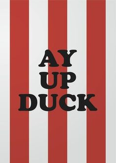 Ay up Duck - Stoke on Trent - print by www.gazwilliams.net Stoke City Fc, Sayings And Phrases, English Fun, Pinterest Projects, Stoke On Trent, Derbyshire, Present Day, Home And Away, Newcastle