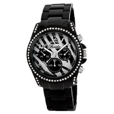"Breda Women's 2288_blackzebra ""Ultra Femme"" Rhinestone Accented Black Zebra Metal Runway Watch Breda. Save 40 Off!. $27.00. Black zebra print dial with contrasting silver hour and minute markers; Silver minute and second hand. Highest standard Quartz movement. Black 3 link metal band; Deployment clasp with push buttons. Black beveled bezel with clear rhinestones. Water-resistant - not recommended to take into deep water or shower"