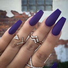 "If you're unfamiliar with nail trends and you hear the words ""coffin nails,"" what comes to mind? It's not nails with coffins drawn on them. It's long nails with a square tip, and the look has. Matte Purple Nails, Coffin Nails Matte, Blue Nails, Gel Nails, Glitter Nails, Dark Nails, Nail Nail, Fall Acrylic Nails, Dipped Nails"