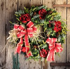 Rustic Christmas Pine Front Door Wreath, Large Red Peony Winter Wreath, Holiday Farmhouse Wreath, Rustic Christmas Decor, Mixed Pine Wreath