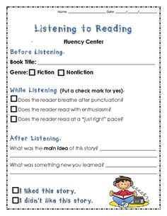 """from Lindsay Flood """"Mrs. Flood's Friends"""" on TPT  Here is a Listening/Fluency Center response worksheet. Would work great with Tumble Books or Bookflix! Enjoy!Questions"""