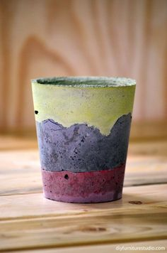 Learn how to make paint-tinted DIY cement pots, bowls, dishes, vases at http://diyfurniturestudio.com/using-latex-paint-to-tint-cement-decor/