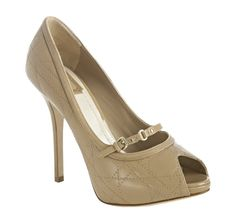 Christian Dior     beige quilted cannage leather peep toe pumps