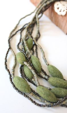 Felted Flower Necklace With Wood: