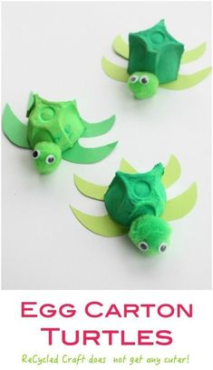 Carton Turtle - a cute recycled craft activity for children. Egg Carton Turtle - a cute recycled craft activity for children. Egg Carton Turtle - a cute recycled craft activity for children. Craft Activities For Kids, Preschool Crafts, Fun Crafts, Summer Activities, Creative Crafts, Holiday Crafts, Ocean Activities, Indoor Activities, Family Activities