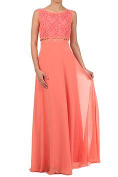 Coral Duo Fabric Maxi Dress