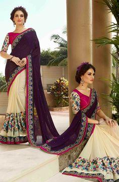 Cream & Purple Indian wedding designer half n half saree with blouse A16119