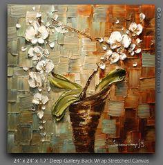 ... Modern Palette Knife Flowers Contemporary Fine Art by Susanna 24x24