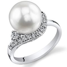 Stunning Freshwater Cultured White Pearl Ring (8.5-9mm) Sterling SilverCZ Accent available at joyfulcrown.com