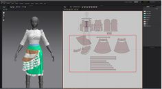 Modeling 3D clothes in Marvelous Designer By JH Park skirt pattern