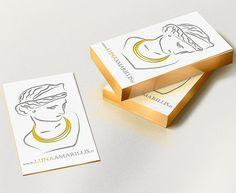 Valentina Di Blase inspires us with her elegant business card design for an Italian handmade jewellery's brand, Luna Amarillis. #businesscarddesign #businesscard #illustration #vectorillustration
