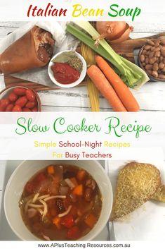 Slow Cooker Pumpkin Soup -School Night Recipes For Teachers Italian Bean Soup, Italian Ham, Italian Beans, Slow Cooker Pumpkin Soup, Slow Cooker Soup, Bean Soup Recipes, Chicken Recipes, Ham Hock Soup, Chicken Carbonara Recipe