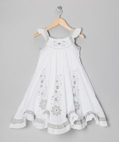 Take a look at this White Gray Floral Swing Dress - Girls by Donita on #zulily today! #tinystyle