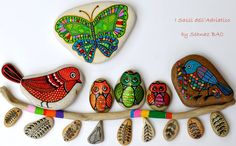 Painted Stones : Bird, owl, butterfly -  https://www.facebook.com/ISassiDelladriatico