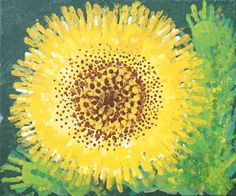 Collaborative - auction art project. Students used handprints in many shades to create the petals and leaves, fingerprints for the seeds. Painted on a green canvas..simply gorgeous! Sunflower art.