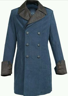 68ca1e47 Assassin's Creed Men's Trench Coat Arno Blue Cotton Cosplay Costume jacket