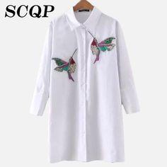 Bird Embroidery Cotton Striped Blouse Women Patchwork Sleeve White Shirt Woman Fashion Korean Style Ladies Long on http://ali.pub/f53d1