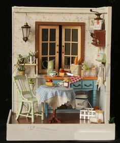 Dollhouse Miniature Model DINNING ROOM DIY with Furniture, Accessories ...