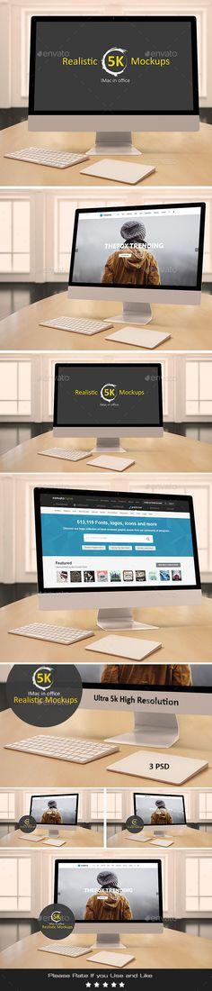 Realistic 5k Mockups - Imac In Office. Download here: https://graphicriver.net/item/realistic-5k-mockups-imac-in-office/17679402?ref=ksioks