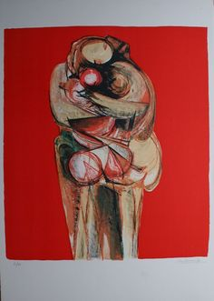 Cyril Wilson - A Time for Embrace  Lithograph 1970 available on www.retrosixty.co.uk  #couple #hugging #embrace #art