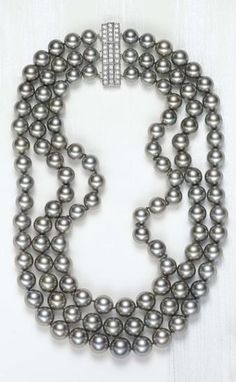 PHILLIPS : NY060110, , A Three-Strand Black Tahitian Cultured Pearl and Diamond Necklace